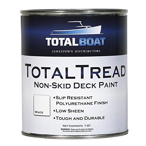 TotalBoat TotalTread Non-Skid Deck Paint, Marine-Grade Anti-Slip Traction Coating for Boats, Wood, Fiberglass, Aluminum, and Metals (Gray, Quart)