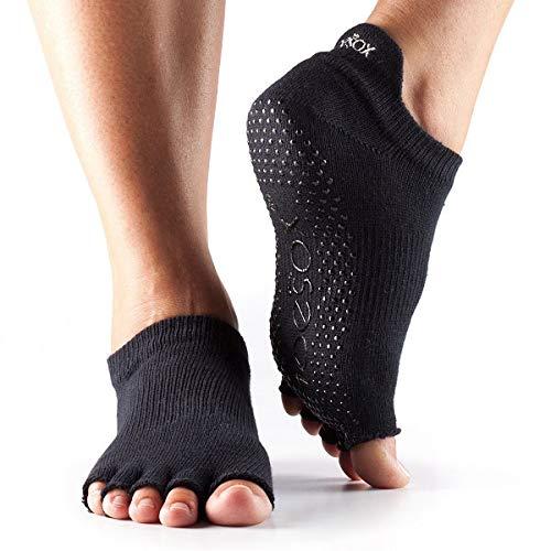 Toesox Half Toe Low Rise Calcetines de Yoga, Unisex Adulto, Negro, S