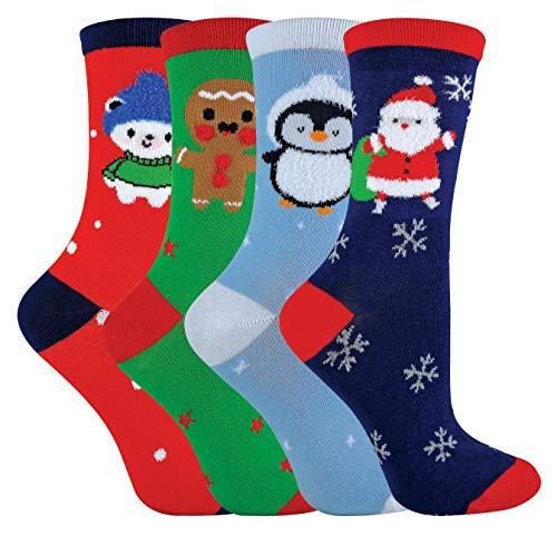 sock snob - 4er pack kinder atmungsaktiv baumwolle weihnachtssocken/socken für junge in 3 größen (31-36 eur, Green/Red)