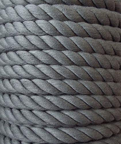 3 m Baumwollkordel 10 mm grau/mittel grau