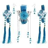 Statement Ribbon Flower Chain Tassel Ancient Chinese Headdress Clip and Earring Set Bridal Wedding Cosplay Dress - Lake Blue
