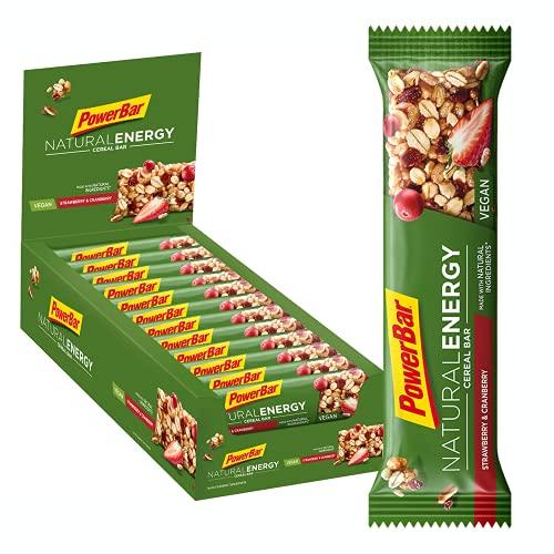 PowerBar Natural Energy Cereal - Barre Céréale Naturelle Nutritive avec Flocons d'Avoine - Vegan - Fraise & Canneberge - 24 x 40 g