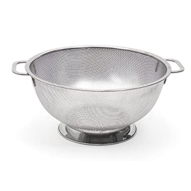 RSVP International Endurance (PUNCH-5) Stainless Steel Precision Pierced Colander Strainer, 5 Quart | For Pasta, Rice, & Fruits | Dishwasher Safe | Wide Rim & Handles | Steaming, Draining & Rinsing