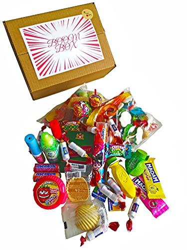 BoomBox® Süßigkeiten Box, Geschenkbox, Party-mix für Erwachsene und Kinder - Nostalgie und neues - Verpackt von Hand mit viel Liebe - +60 Süßigkeiten - 1kg -