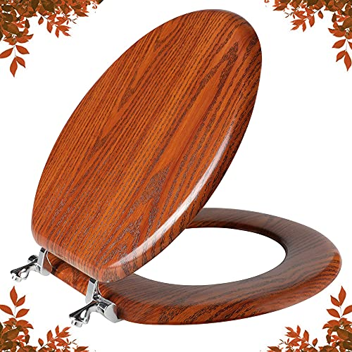 Round Toilet Seat Molded Wood Toilet Seat with Zinc Alloy Hinges, Easy to Install also Easy to Clean, Anti-pinch Wooden Toilet Seat by Angol Shiold (Round, Brownish Red)