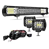 TURBO SII 20' Grille LED Light Bar Triple Row 288W Flood Spot Combo Beam Led Bar W/ 2Pcs 4in 60W Off Road Driving Fog...