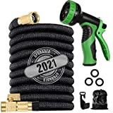 200 ft Flexible and Expandable Garden Hose - Strongest Triple Latex Core with 3/4' Solid Brass Fittings Free 9 Function Spray Nozzle, Easy Storage Kink Free retractable garden Hose