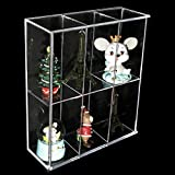 Clear Mounted Acrylic Display Case Organizer Storage Rack - 6 Compartments - Sliding Door Dustproof Protection Showcase Box for Funko Mini Pop Figure Action Toys Collectibles Vinyl Figure Rock Stone