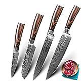 Cuchillo del cocinero Cuchillos de cocina Set Professional Chef Cuchillos 7CR17 440C High Croxid Acero inoxidable Imitación Damasco Patrón Set (Color : 4 set A)