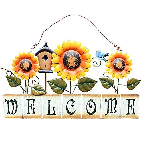 Attraction Design Vintage Sunflower Decor Welcome Sign for Front Door, Garden Themed Welcome Door Sign Hanging Metal Welcome Wall Plaque Home Garden Decor (Sunflower Welcome Sign-CS)