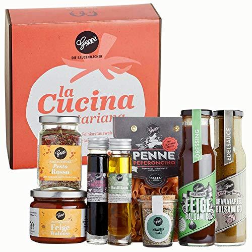 Gepp's Feinkost Vegetarische Italien Box I Gourmet-Geschenk zum Geburtstag, für Männer & Frauen I Geschenkbox gefüllt mit veganen & vegetarischen, italienischen Delikatessen (A0013)