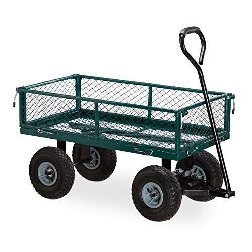 Relaxdays Chariot à Main,Charrette Pratique pour Le Jardin, extérieur, Parties latérales Pliables, Jusqu'à 150 kg, Vert foncé