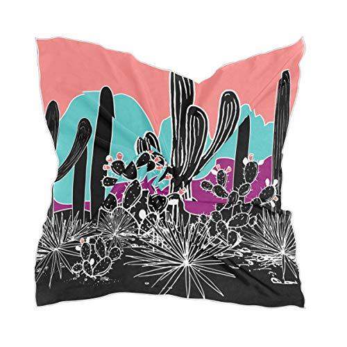 Bufanda cuadrada psicodélica de cactus tropical agave montaña, grande, 60 x 60 cm, bufanda para cuello