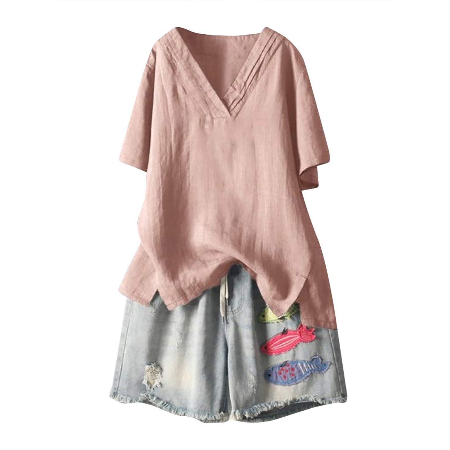 Cewtolkar Women Summer Blouse Plus Size Shirt Cotton and Linen Tops V Neck Tunic Short Sleeve Tees Casual T Shirt