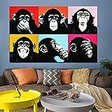 wojinbao Resumen de Lienzo de Arte de paredHD Print Colorful Black Monkey Animal Oil ng Decoración para el hogar para Carteles e Impresiones de Lienzo Cuadros Living Room Posters