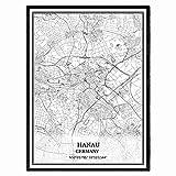 Hanau Deutschland Karte Wandkunst Leinwand drucken Poster