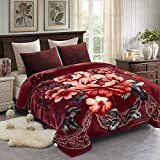 JML Heavy Korean Style Mink Fleece Blanket – 10lb 2 Ply Soft Thick Plush Bed Blanket for Autumn Winter (Floral/Peony, King)