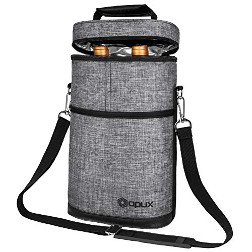 OPUX 2 Bottle Wine Tote Carrier | Insulated Wine Cooler Bag for Travel Picnic BYOB | Portable Wine Carrying Bag, Padded Protection, Shoulder Strap, Wine Gifts - Heather Grey