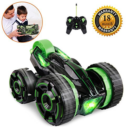 RC Stunt Car, Radio Control Racing Car Double Sided 360 Degree Spins Rolling & Stumbling Action with LED Headlights Remote Vehicle Gift Toy for Kids