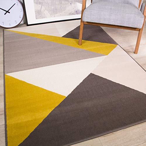 The Rug House Moderne Reichhaltige Apart Abstrakt Design Ocker gelb senf Gold Graphit grau Teppich