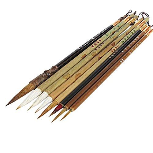 Set di pennelli artistici cinesi professionali. Dimensioni: 1. pennello in pelo di lupo, punta = 3,8 cm, diametro = 0,9 cm, lunghezza = 23,5 cm; 2. punta del pennello Jian, punta = 3,5 cm, diametro = 0,8 cm, lunghezza = 24 cm; 3. punta del pennello J...