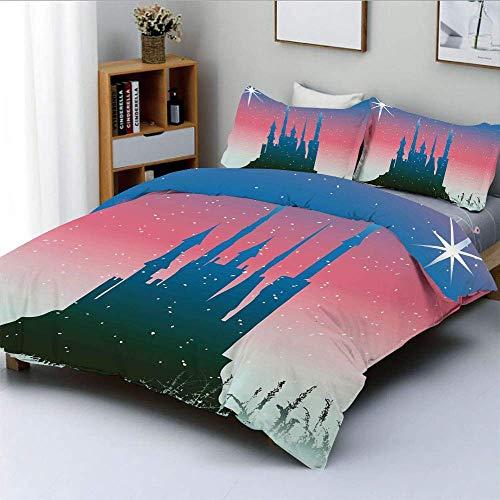 Juego de funda nórdica, silueta de castillo medieval de cuento de hadas con diseño de estrellas en el cielo Princess Juego de cama decorativo de 3 piezas con 2 fundas de almohada, coral azul oscuro, e