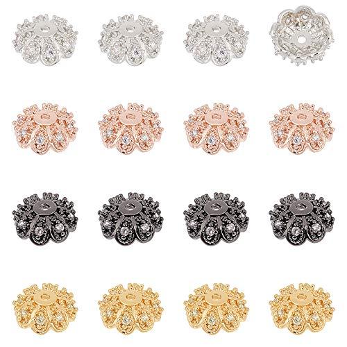 nbeads 16 STK. Zirkonia Flower Bead Caps, 4 Farben Metallperlen Kappen Messing Abstandhalter Perlen Für Armband Halskette Schmuckherstellung