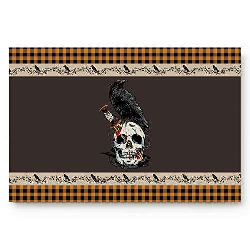 Koupin Life Absorbent Front Door Mat Bath Rugs, Halloween Skull Knife Crow Non Slip Rubber Backing Welcome Mats 16x24in Entry Rug for Office, Bedroom, Bathroom, Indoors Orange Black Checker