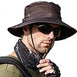 anaoo Sombrero Hombre Gorra de Verano Sombrero Pesca del Sol Gorra al Aire Libre Sombrero Playa Hombre Plegable De ala Ancha Protección UV, Color Marron