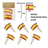NEW TORO 25Pcs Palillos de Tapas con Bandera de ESPAÃ'A 3.5 * 2.5cm Palo 8cm Largo