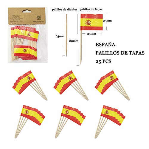 NEW TORO 25Pcs Palillos de Tapas con Bandera de ESPAÑA 3.5 * 2.5cm Palo 8cm Largo