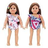 Joyibay 2 Stück Puppenbadeanzug Mode Puppenbikini Mit 2 Stück Puppenhaarspange Für 18in...