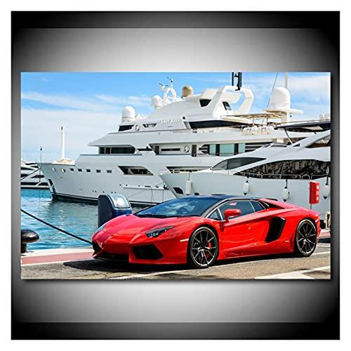 RHWXAX Modern Wall Art Picture Red Aventador Super Coche y Luxury Boat Pintings Pinturas de Lienzo Pósters e Impresiones para la decoración de la habitación 20x28 Pulgadas Sin Marco