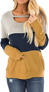 Anbech Women's Color Block Long Sleeves Tunic Cutout Choker Tops Scoop Neck Casual Loose Blouse