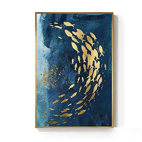 """YIYAOFBH Quadro su Tela Pesce Dorato Astratto Stampa Blu di Grandi Dimensioni Poster da Parete di Lusso Arte da Parete CorridoioImmagineOro60x80 cm / 23,6""""x 31,5"""" con Cornice"""