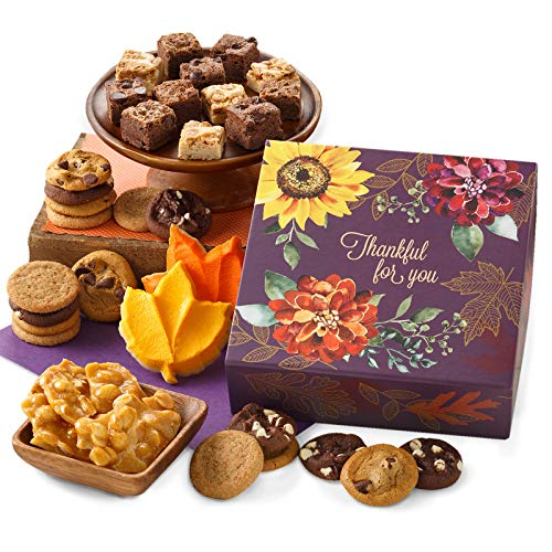 Mrs. Fields Cookies Fall Thankful for You Bites Box - Includes: 18 Nibbler Bite-Sized Cookies, 2 Large Brownie Bars, 2 Frosted Leaf Cookies & Peanut Brittle, 23 Count (Pack of 1)