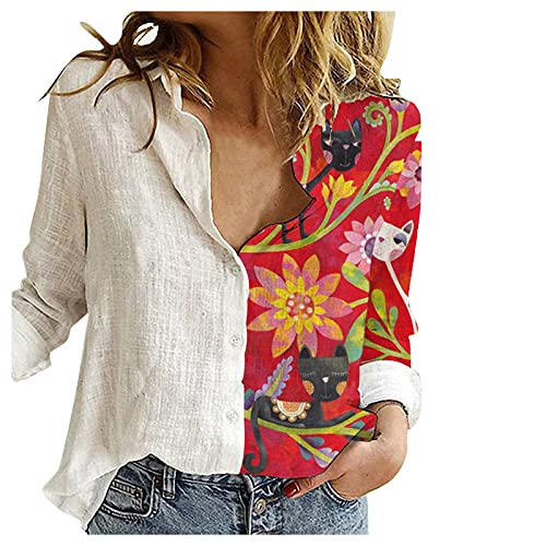 T-shirts voor dames, damesblouses, dames, casual, plus size, vierkante kraag, print, losse knopen, tuniek, shirt, blouse, top, tops voor dames, wit, S