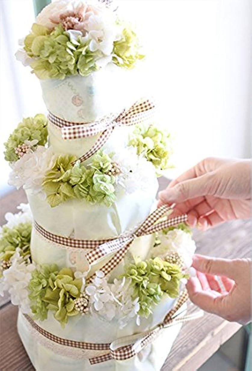 オフセット代数的ナンセンス出産祝い ベビーシャワー 出産祝い フラワーケーキ プリザーブドフラワー ブーケ おむつケーキ (Mパンパース, グリーン系)