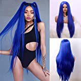 EEWIGS Blue Long Straight Synthetic Middle Part None Lace Wigs Natural Looking Heat Resistant Fiber Hair for Women (blue)