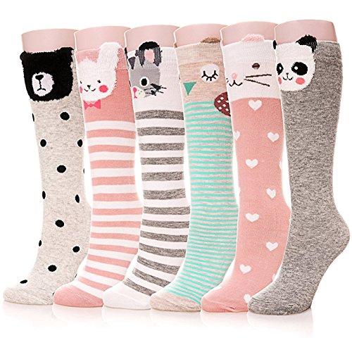 Ateid Mädchen Kniestrümpfe Socken Knielang 6er-Pack