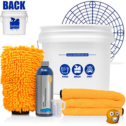 detailmate Hand-WASH-ONLY-Set: GritGuard Wascheimer 3,5 GAL + Grit Guard Schmutzeinsatz + Koch Chemie Nano Magic Autoshampoo, 500ml + Chenille Waschhandschuh + Orange Baby Trockentuch + 50ml Becher