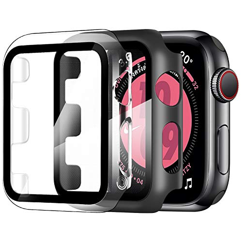 ZXK CO 2 Pezzi Cover per Apple Watch 42mm Series 1/2/3, Custodia PC + Pellicola Protettiva AntiGraffio HD, Copertura Completa Protezione Schermo in Vetro Temperato Integrata (Trasparente + Nero)