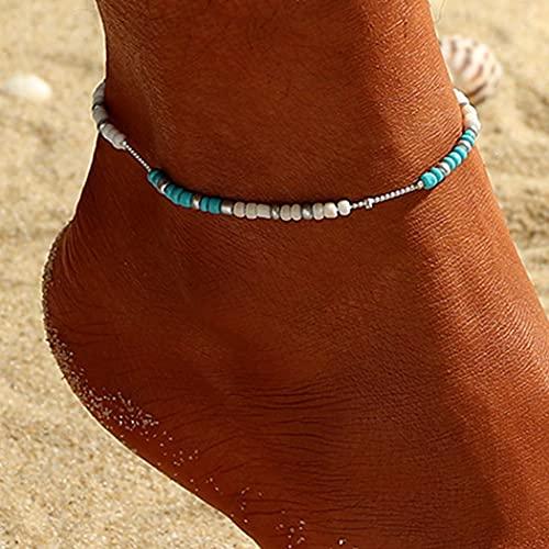 cavigliera donna doppia Handcess Cavigliere Boho Braccialetti alla caviglia turchese argento Catene colorate perline per donne e ragazze