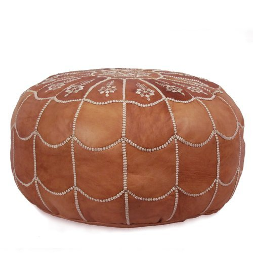 Mina Stuffed Moroccan Arch design Leather Pouf Ottoman, Many Colors Available, 22