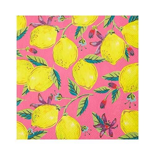 Paquete de 20 servilletas de papel con estampado de limón rosa |Servilletas desechables, vajilla para comedor interior o...