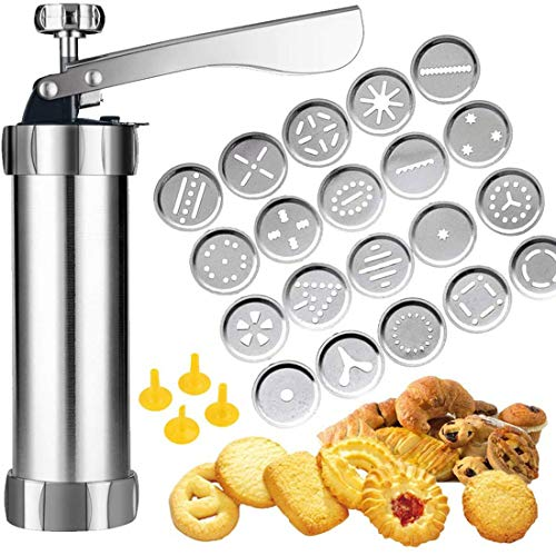 Genericb Cookie Press, Spritz Cookie Press Gun Kit, DIY Biscuit Maker with 20 Stainless Steel Cookie Molds and 4 Nozzles for DIY Cookie Making and Decoration