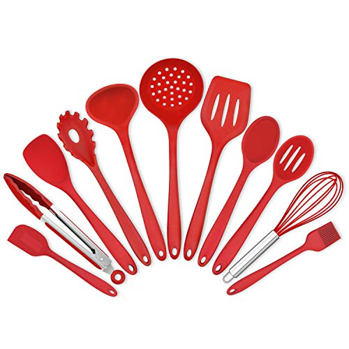 Homikit 11 Pieces Cooking Utensils Set, Silicone Kitchen Utensil Spatula Set for Nonstick Cookware, Red Kitchen Tools Include Whisk Turner Spoon Ladle Skimmer, Heat Resistant, Dishwasher Safe