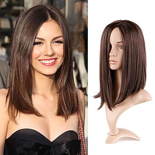Mezcla marrón marrón sintética recta larga mediana dorado para mujeres blancas/negras o ropa diaria