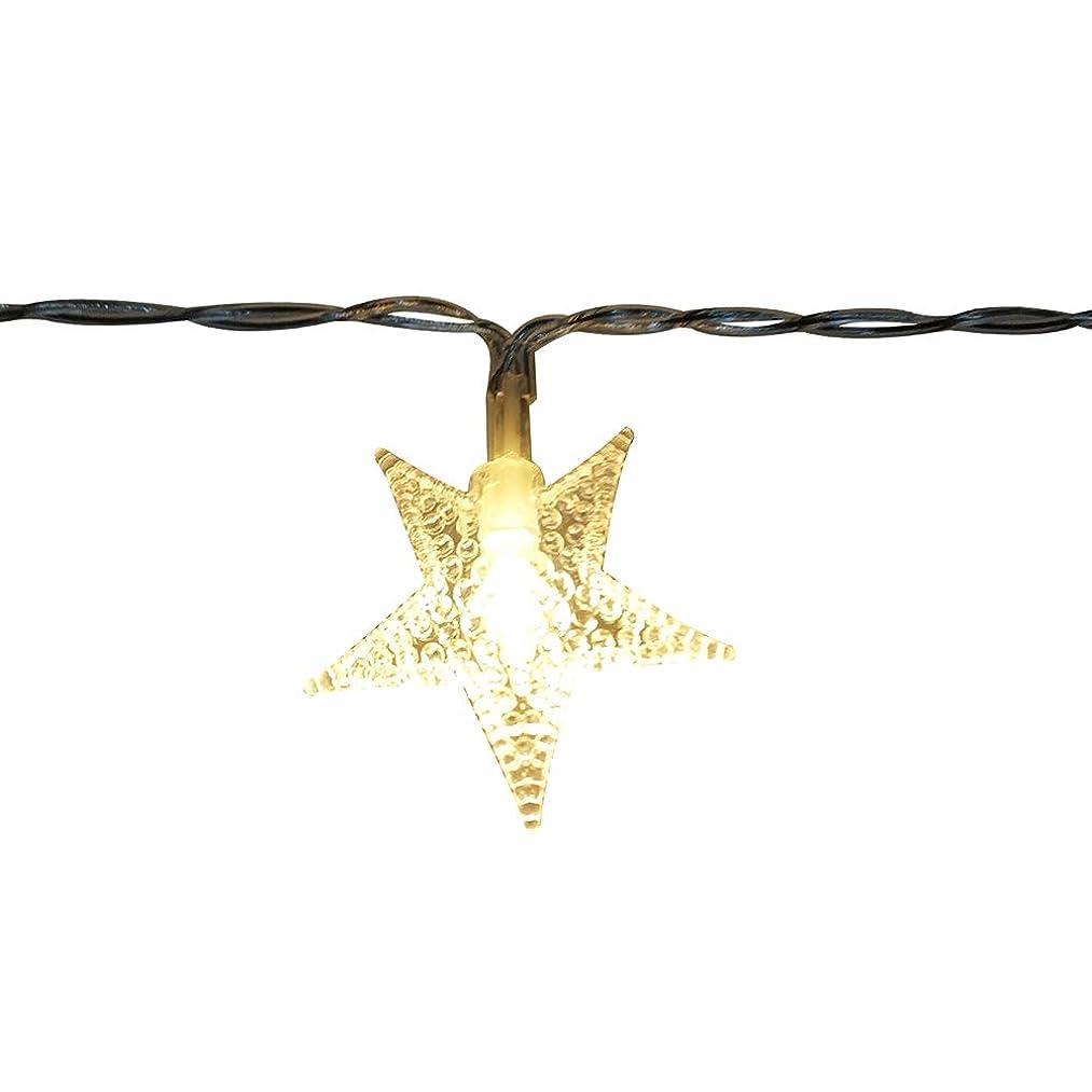 美的入り口敗北sunite 星の形イルミネーションライト LEDフェアリーライト 2m 10球LEDストリングライト スターガーランドライト 装飾 結婚式 ホームパーティー お誕生日 パーティー クリスマスなどに最適 電飾(ウォームホワイト)電池式 2 AA