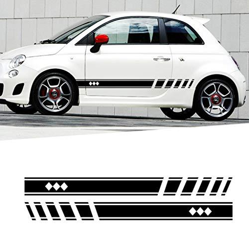 Für FIAT 500 Karosserie Seitenaufkleber Sport Racing Streifen Rock Fenster Tür Auto-Styling Dekorative wasserdichte Aufkleber 183x11cm type1 Schwarz
